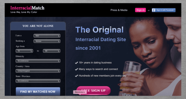 Interacial match dating site homepage