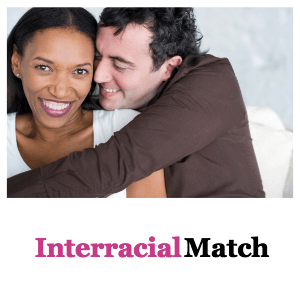 a black woman with a white man hugging representing an interracial relationship match