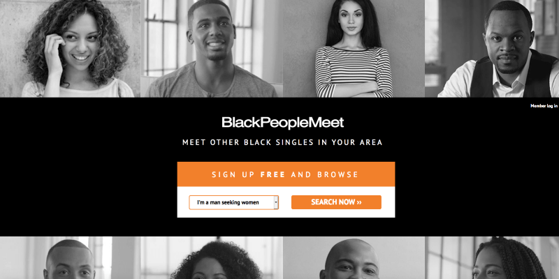 Black People Meet Signup and login page