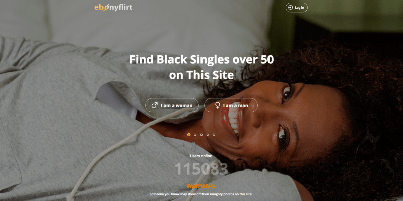 the Ebony Flirt login and sign up page