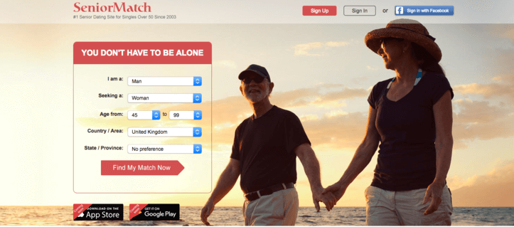 Senior Match dating site sign up page